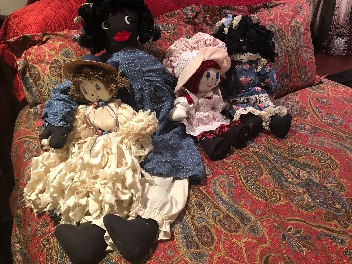 four ladies ready to be part of your collection. hand made rag dolls