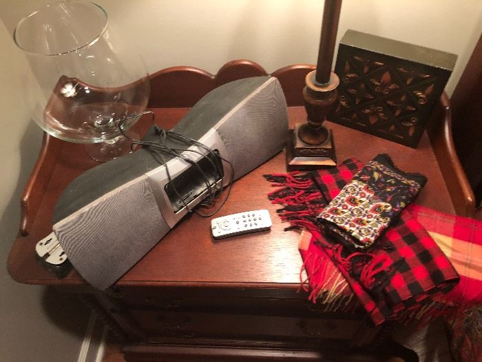 lots of interesting items. a satellite radio. scarves that still have tags. silks.
