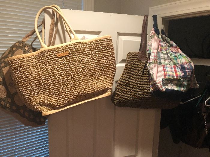 get ready for the beach. all types of fun tote bags