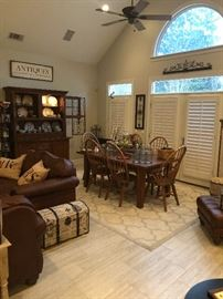 a shot of the family room dining area