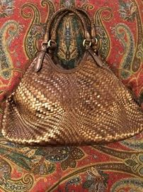 Cole Haan festive copper colored bag
