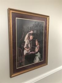 interesting print in the dining room