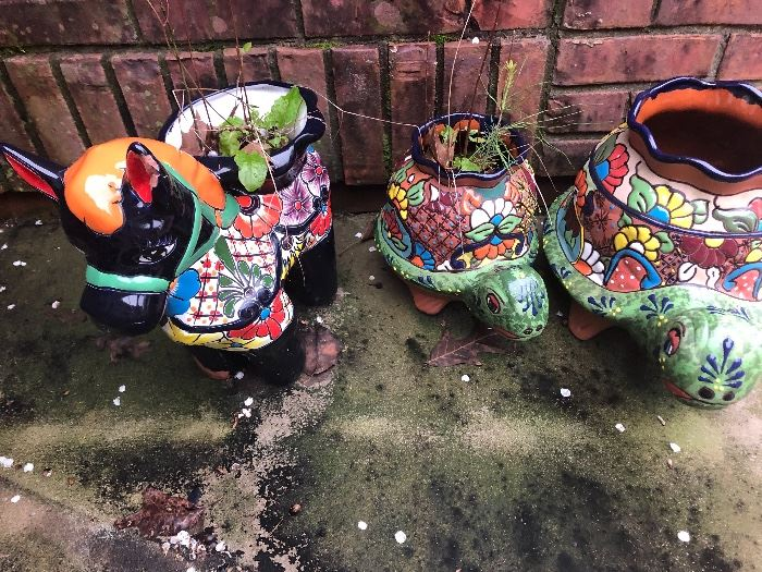 colorful planters for your patio. Love the two turtles and the donkey