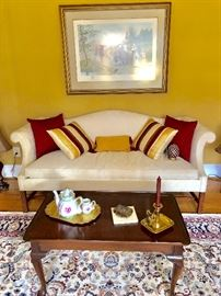Beautiful camel back sofa and table