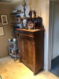 Antique French Walnut Burl Cabinet 6 Shelves and 1 Drawer 39x18x76 HxWxD