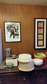 Lots of art work & several sets of vintage Tupperware