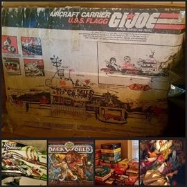 GI JOE Aircraft Carrier USS FLAGG - 80% Complete, Hotwheels Speed Chargers, Dark World, Barbies, Vintage Toys and More