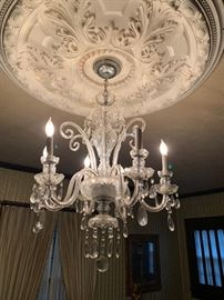 Another view of the vintage crystal chandelier.