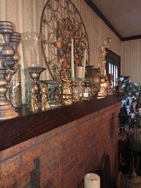 Large assortment of vintage brass home decor.