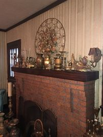 A side view look of vintage brass decor.