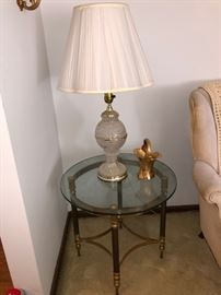 Glass/brass round end table
