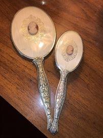 Dresser mirror and brush set