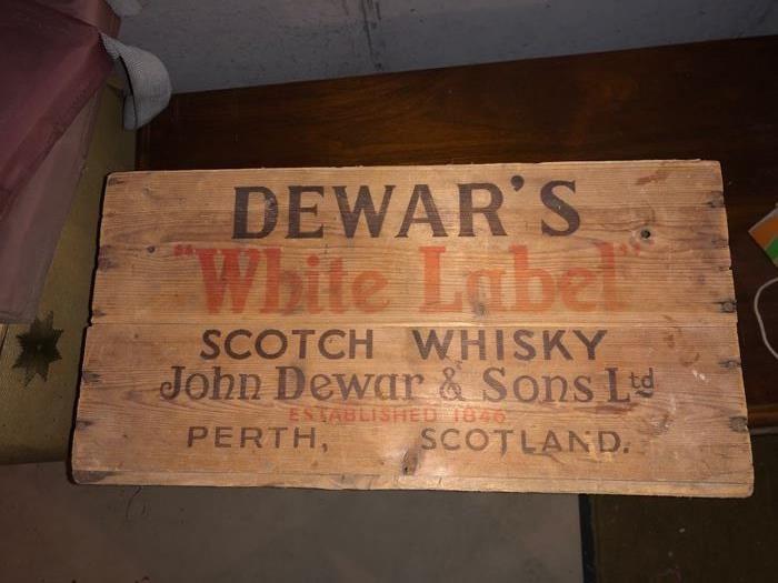 Vintage Dewar's wooden crate