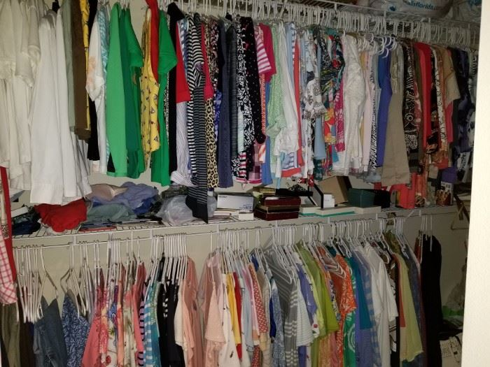 $10.00 for 10 items, some new with tags.  Excellent condition women's clothing size 6-12, includes Talbott's, Chico's, etc.  All items MUST be picked up on March 21st or 22nd only.  If you are unable to do this please email rcullen@virtualparalegalny.com PRIOR to purchasing. Sale has a house full of items available for sale, you are welcome to shop when you pick up your purchased items.  Lots of home decor, 2 closets FULL of ladies clothes and shoes, all like new and name brand, garage stuff, kitchen stuff etc. GREAT PRICES!