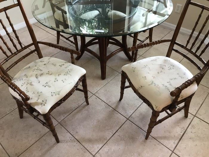 """$150.  Dining room table and chairs (4).  Glass top measures 58"""".   All items MUST be picked up on March 21st or 22nd only.  If you are unable to do this please email rcullen@virtualparalegalny.com PRIOR to purchasing. Sale has a house full of items available for sale, you are welcome to shop when you pick up your purchased items.  Lots of home decor, 2 closets FULL of ladies clothes and shoes, all like new and name brand, garage stuff, kitchen stuff etc. GREAT PRICES!"""