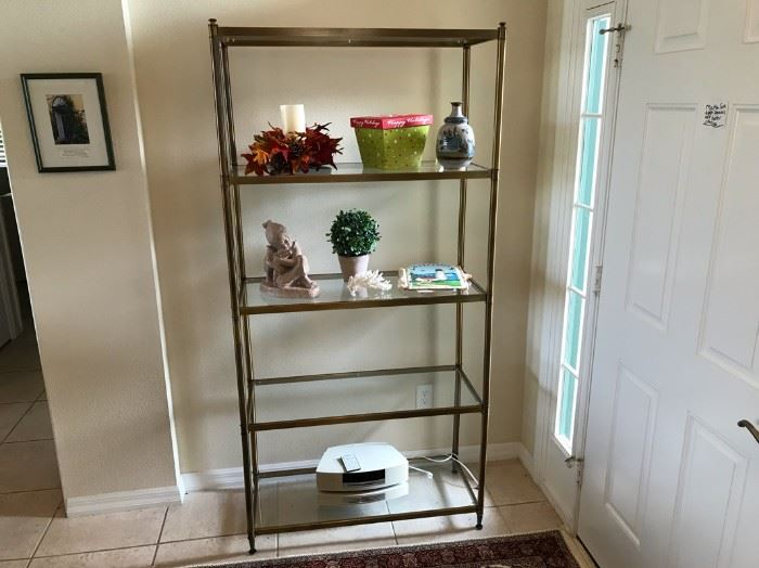 $50.  Glass shelving.  .  All items MUST be picked up on March 21st or 22nd only.  If you are unable to do this please email rcullen@virtualparalegalny.com PRIOR to purchasing. Sale has a house full of items available for sale, you are welcome to shop when you pick up your purchased items.  Lots of home decor, 2 closets FULL of ladies clothes and shoes, all like new and name brand, garage stuff, kitchen stuff etc. GREAT PRICES!