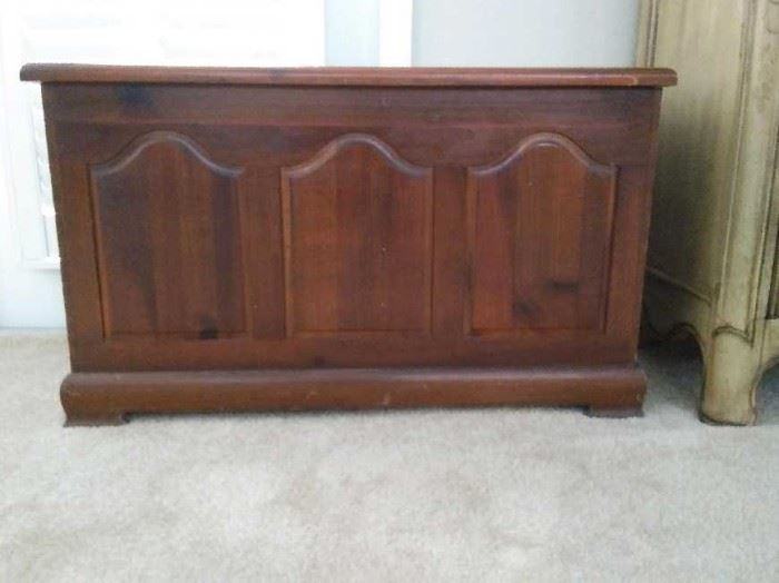 $50.  Hope chest.   All items MUST be picked up on March 21st or 22nd only.  If you are unable to do this please email rcullen@virtualparalegalny.com PRIOR to purchasing. Sale has a house full of items available for sale, you are welcome to shop when you pick up your purchased items.  Lots of home decor, 2 closets FULL of ladies clothes and shoes, all like new and name brand, garage stuff, kitchen stuff etc. GREAT PRICES!