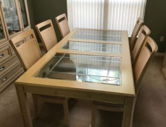 JUST REDUCED TO $100.  Long dining room table (add'l photo).  Price will not drop any lower.                                                                                                                                                                                                                                                        All items MUST be picked up on March 21st or 22nd only.  If you are unable to do this please email rcullen@virtualparalegalny.com PRIOR to purchasing. Sale has a house full of items available for sale, you are welcome to shop when you pick up your purchased items.  Lots of home decor, 2 closets FULL of ladies clothes and shoes, all like new and name brand, garage stuff, kitchen stuff etc.                                                                                                          GREAT PRICES!
