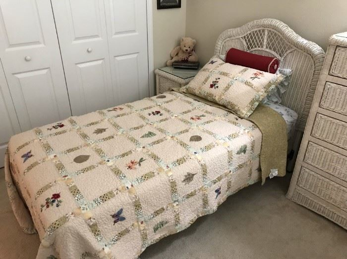$150.  Wicker bed (one of two).   All items MUST be picked up on March 21st or 22nd only.  If you are unable to do this please email rcullen@virtualparalegalny.com PRIOR to purchasing. Sale has a house full of items available for sale, you are welcome to shop when you pick up your purchased items.  Lots of home decor, 2 closets FULL of ladies clothes and shoes, all like new and name brand, garage stuff, kitchen stuff etc. GREAT PRICES!