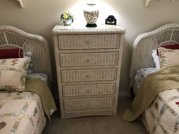 $90.  Wicker bedroom dresser.   All items MUST be picked up on March 21st or 22nd only.  If you are unable to do this please email rcullen@virtualparalegalny.com PRIOR to purchasing. Sale has a house full of items available for sale, you are welcome to shop when you pick up your purchased items.  Lots of home decor, 2 closets FULL of ladies clothes and shoes, all like new and name brand, garage stuff, kitchen stuff etc. GREAT PRICES!