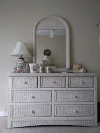 $110.  Wicker dresser with mirror.  All items MUST be picked up on March 21st or 22nd only.  If you are unable to do this please email rcullen@virtualparalegalny.com PRIOR to purchasing. Sale has a house full of items available for sale, you are welcome to shop when you pick up your purchased items.  Lots of home decor, 2 closets FULL of ladies clothes and shoes, all like new and name brand, garage stuff, kitchen stuff etc. GREAT PRICES!