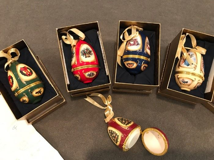 JUST REDUCED TO $25!  Antique Christmas Eggs.                                                                                                                                                                            All items MUST be picked up on March 21st or 22nd only.  If you are unable to do this please email rcullen@virtualparalegalny.com PRIOR to purchasing. Sale has a house full of items available for sale, you are welcome to shop when you pick up your purchased items.  Lots of home decor, 2 closets FULL of ladies clothes and shoes, all like new and name brand, garage stuff, kitchen stuff etc.                                                                                                          GREAT PRICES!
