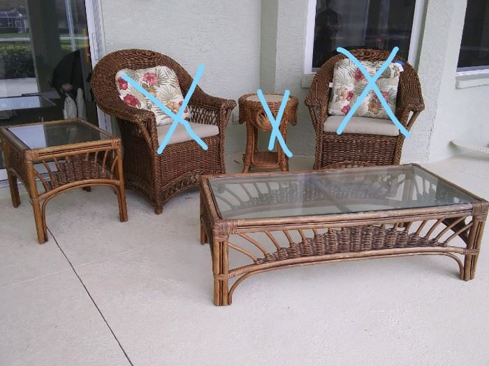 $50.  Wicker tables (not chairs or round table).   All items MUST be picked up on March 21st or 22nd only.  If you are unable to do this please email rcullen@virtualparalegalny.com PRIOR to purchasing. Sale has a house full of items available for sale, you are welcome to shop when you pick up your purchased items.  Lots of home decor, 2 closets FULL of ladies clothes and shoes, all like new and name brand, garage stuff, kitchen stuff etc. GREAT PRICES!