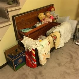 Cedar chest + cabbage patch dolls