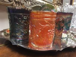 More examples of carnival glass tumblers