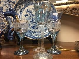 Large collection of cordials, blue and white Asian style pieces