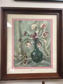 1940s magnolia print with a handmade frame.  The history is written on the back.