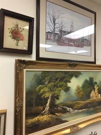 Original European painting, maybe Dutch, Austin Peay campus print by local artist. Antique floral print framed in antique shadow box frame