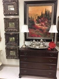 Mahogany 1940s chest, four framed prints with great frames, large Tuscany style picture.