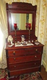 Antique dresser w/ spoon carved mirror, tall brass candle sticks, Japan porcelain/china