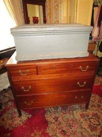 Primitive chest, antique dresser, vintage area rug