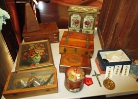Misc. wooden boxes, jewelry chests, metronome