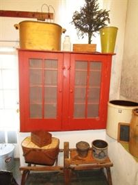 Primitive painted cupboard, copper boiler, rug beaters, vintage baskets, advertising boxes, stoneware crocks