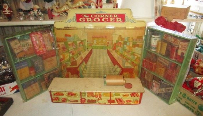 """The Corner Grocer"" 1930's-40's  tin fold out toy"