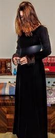 Black velvet with mink cuffs evening gown.