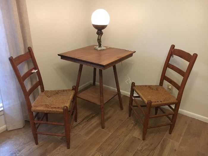 Rush chairs, solid oak tables
