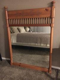 Rustic Wooden Bedroom Mirror & Headboard