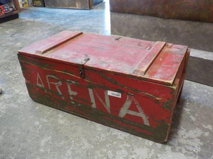 Old Military wooden foot locker