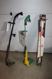 2 String Trimmers and Upright Grass Shear