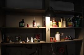 All on 2 Shelves Oil, Chemicals and Funnels