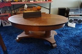 Oak Quarter sawn oval library table converted to coffee table