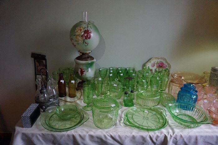 Green Depression glass, Cameo, Princess, Block, and more