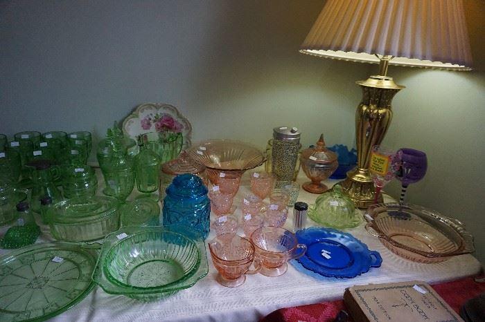 Depression Glass pink, blue,