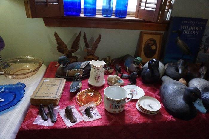 Duck decoy Bills, porceline, Detroit Times cookbook, old wood Decoys