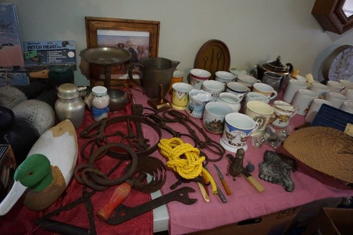 Cast Iron, Horse bits, shoe button hooks, metal purse, old mugs