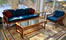 Again, McGuire Settee, Coffee Table, End Table and and additional chair.